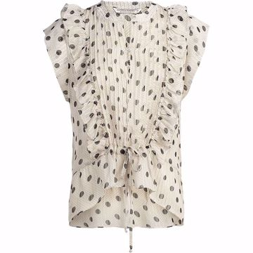 Summum Top Ruffle Dot Artisilk White Sand