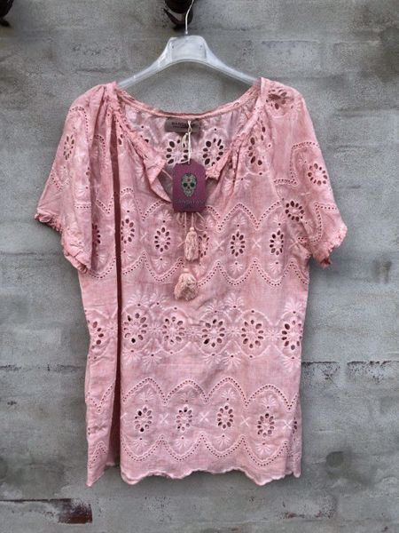 Cabana Living Bluse Broderi Anglise Rosa