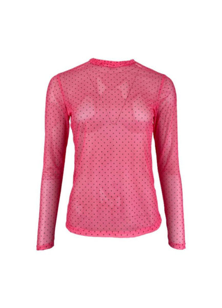 Black Colour Florence Mesh Bluse Pink Dot
